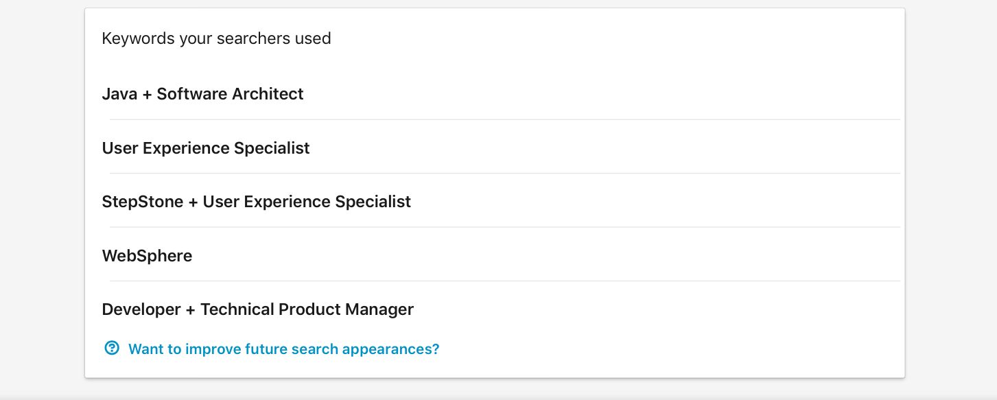 LinkedIn keyword search